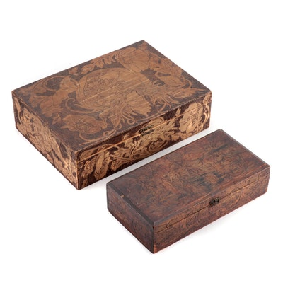Two Figural Pyrography Boxes