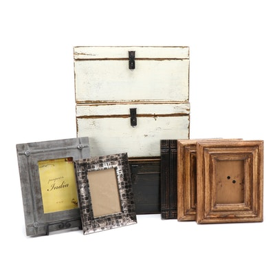Distressed Wooden Decorative Boxes and Frame Collection