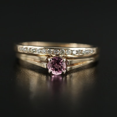 14K Gold Tourmaline Solitaire Ring with Diamond Band