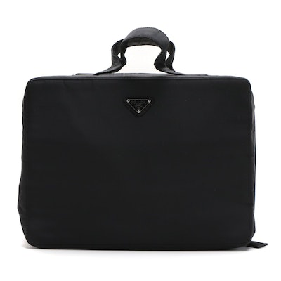 Prada Black Tessuto Nylon Top Handle Toiletry Bag