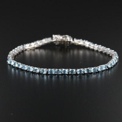 Sterling Silver Apatite Line Bracelet