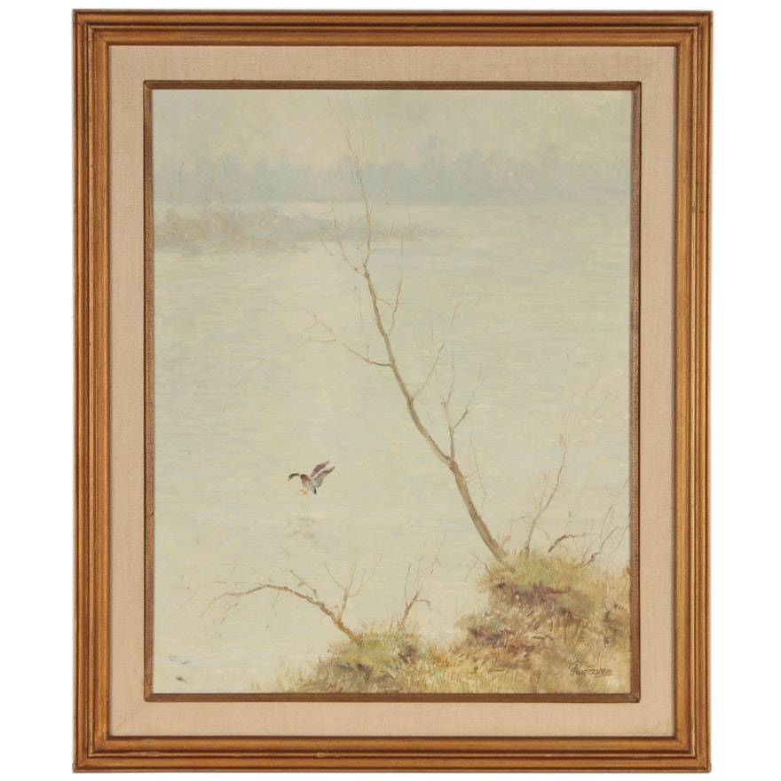 "Attributed to Paul Penczner Oil Painting of Coastal Landscape ""Landing"""