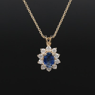 14K Yellow Gold Sapphire and Diamond Cluster Pendant Necklace