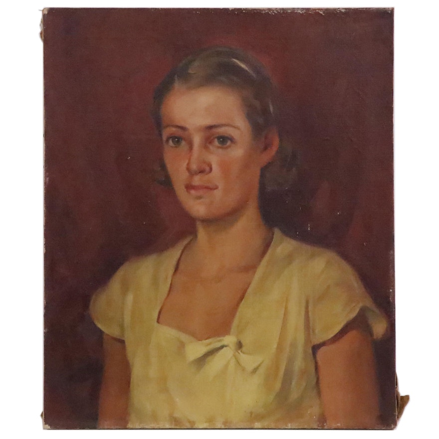 Loris Alvin Withers Oil Painting of a Young Girl
