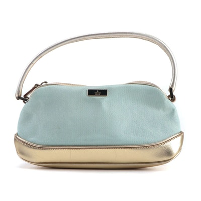 Gucci Blue Canvas and Metallic Gold Leather Pochette