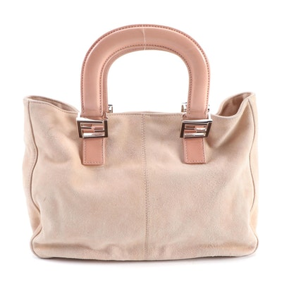 Fendi Blush Pink Suede Tote with Leather Trim