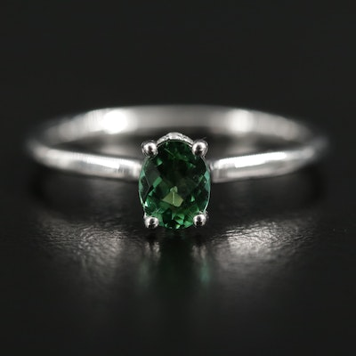 14K White Gold Green Tourmaline Solitaire Ring