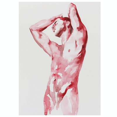 Watercolor Painting of Male Figure