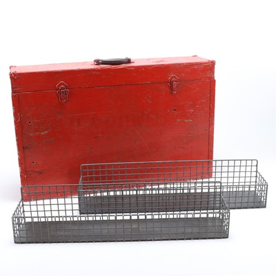 Distressed Red Work Box with Wire Bins