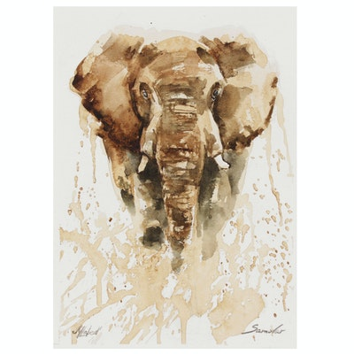 Marina Lebed Watercolor Painting of Elephant