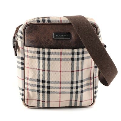 "Burberry Crossbody Bag in ""House Check"" Nylon Canvas and Leather Trim"