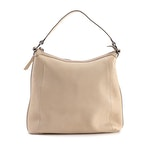 Gucci Beige Leather Hobo Bag with Bamboo Bar Accents