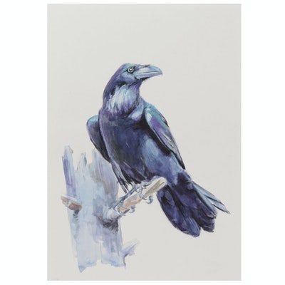 Forest Raven Watercolor Painting