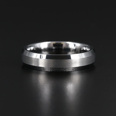 Tungsten Band with Brushed Finish Accents