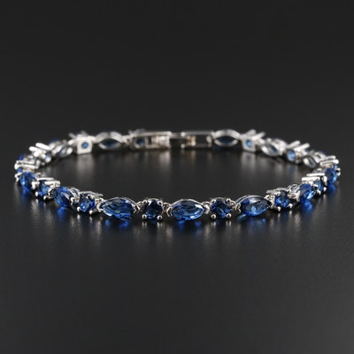 Link Bracelet with Faceted Blue Glass