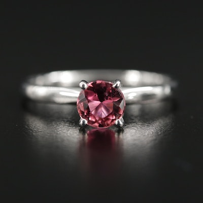 14K Gold Pink Tourmaline Solitaire Ring
