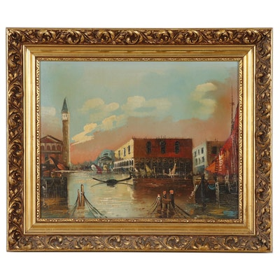 European Canal Scene Oil Painting, Mid-20th Century