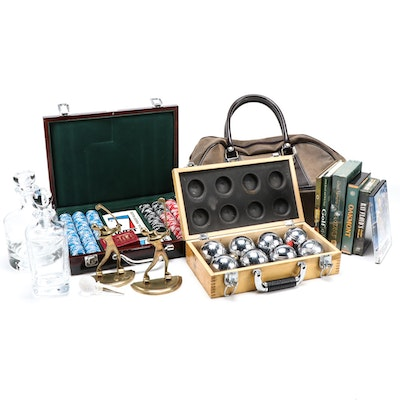 Chrome Bocce Ball Set, Poker Chips with Case, Golf Decanters and Assortment