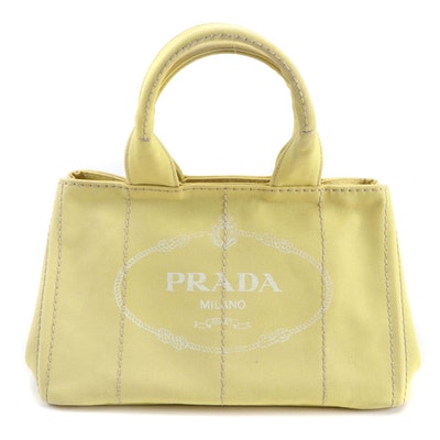 Prada Yellow Canapa Canvas Satchel with Contrast Stitching