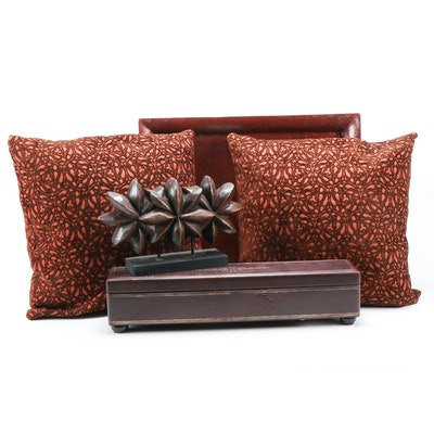 Embossed Leather Box and Tray with Pillows and Sculpture