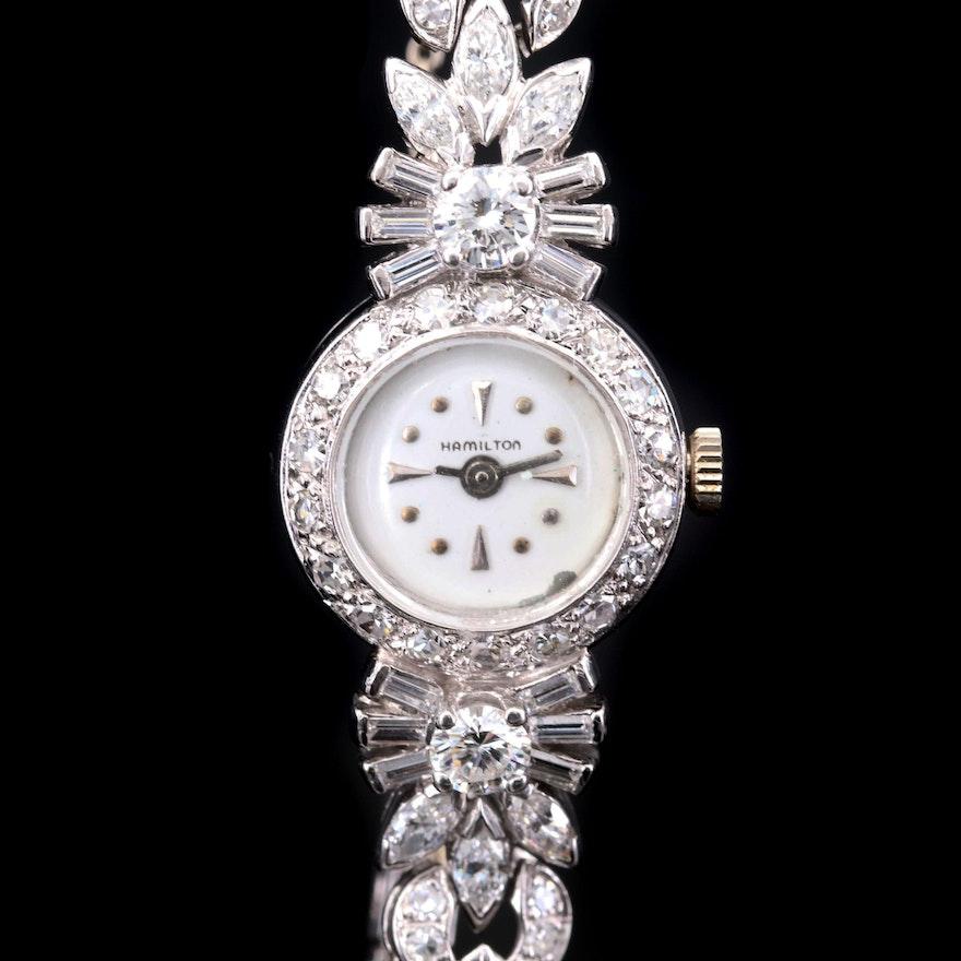 Hamilton Platinum and 4.00 CTW Diamond Stem Wind Wristwatch