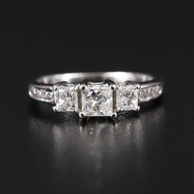 14K Gold 1.00 CTW Diamond Tiered Ring with Heart Accents