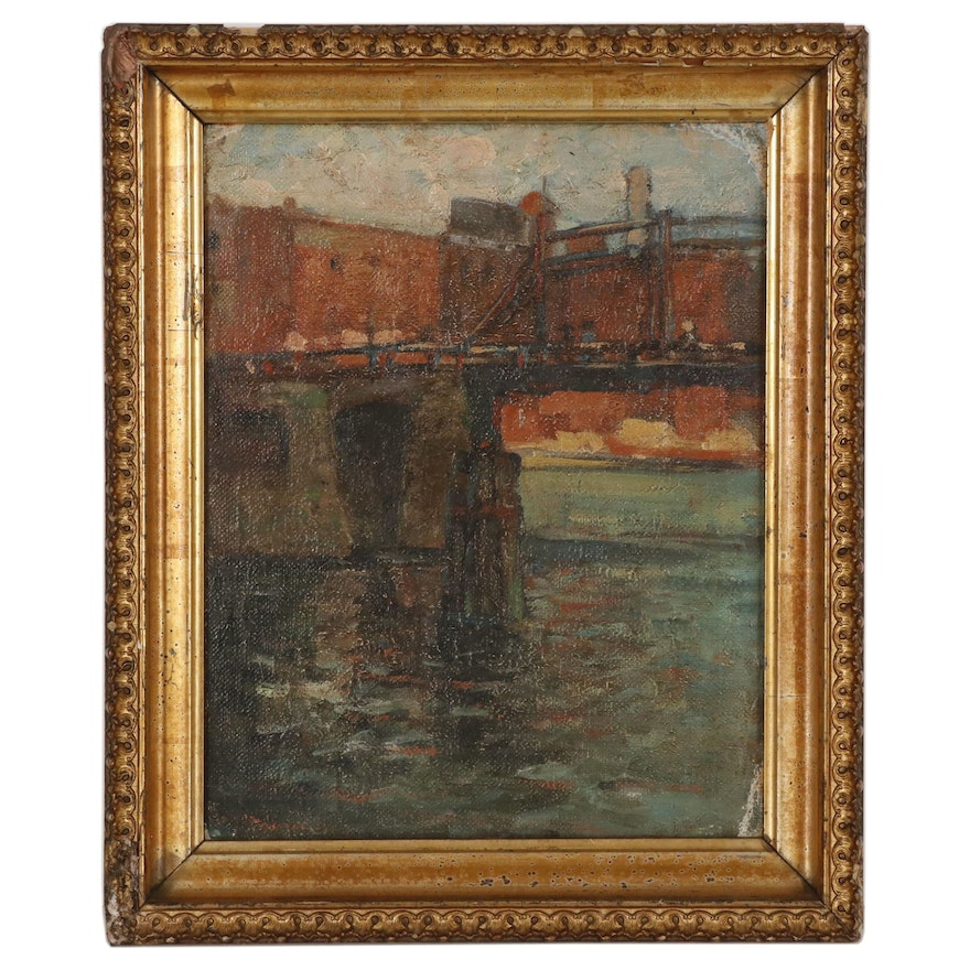 Oil Painting of a Bridge, Early 20th Century