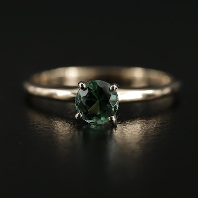 14K Yellow Gold Tourmaline Solitaire Ring