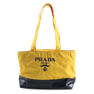 Prada Milano Yellow Nylon and Navy Leather Tote