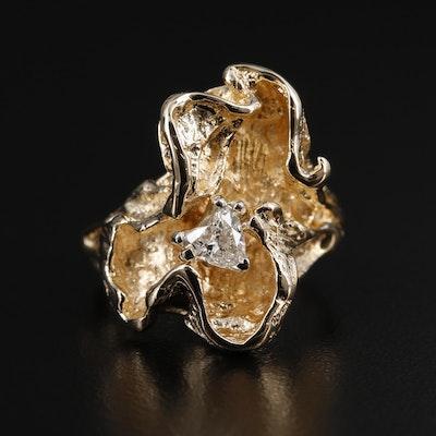 14K Gold Diamond Freeform Ring