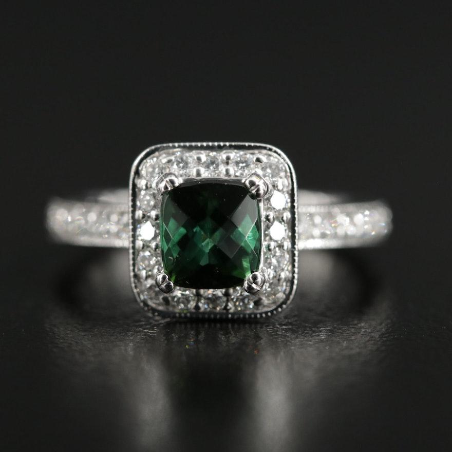 18K White Gold Tourmaline and Diamond Halo Ring