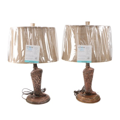 Pair of Stamped Copper Western Boot Table Lamps with Fabric Shades