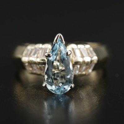 14K Yellow Gold Aquamarine and Diamond Knife Edge Ring