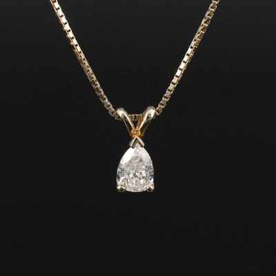 14K Yellow Gold Pear Shape 0.45 CT Diamond Pendant Necklace