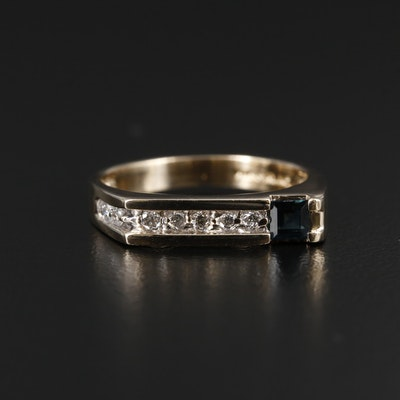 Modern 10K Yellow Gold Sapphire and Diamond Ring