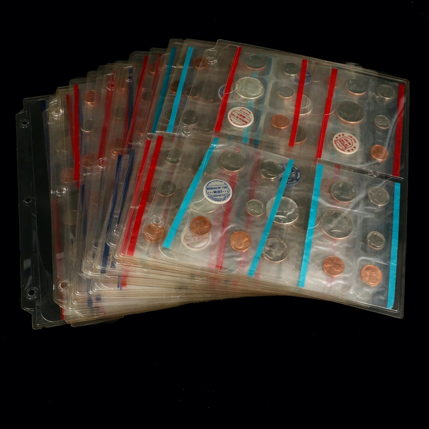 Collection of U.S. Mint Uncirculated Coin Sets by Year, 1965-2006