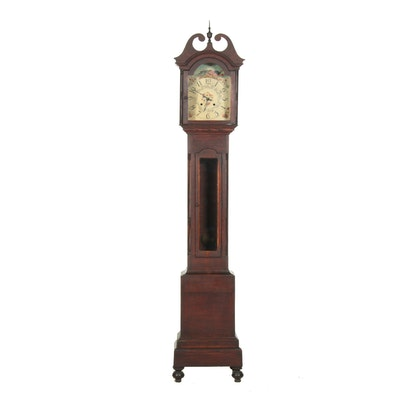 Oak Grandfather Clock with Painted Face, Early 20th Century