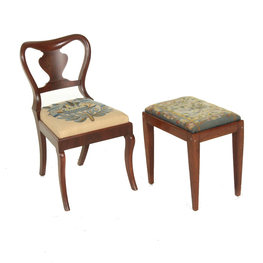 American Classical Mahogany and Crewelwork Side Chair Plus Needlepoint Stool
