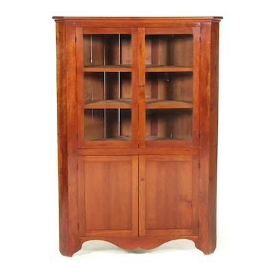 American Primitive Cherrywood Corner Cupboard, Mid-19th Century