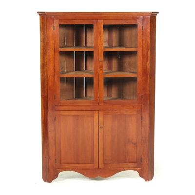 American Primitive Cherrywood Corner Cupboard, Mid-19th Century