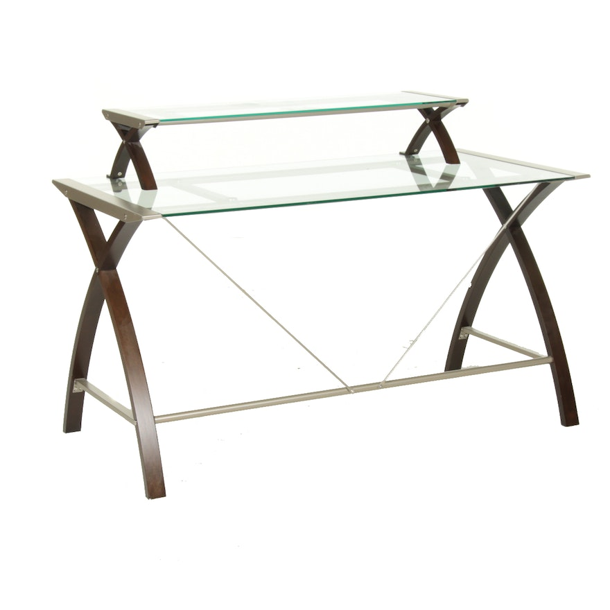 Modernist Style Bentwood, Metal, and Glass Two-Tier Desk