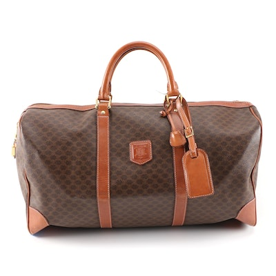 Céline Boston Duffel Travel Bag in Macadam Canvas and Cognac Leather