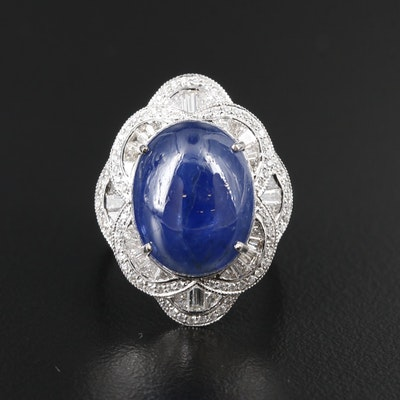 Sophia D 18K 10.76 CT Sapphire and 1.90 CTW Diamond Modified Quatrefoil Ring
