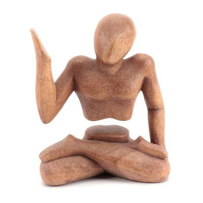 Indonesian Carved Hardwood Abstract Seated Figure