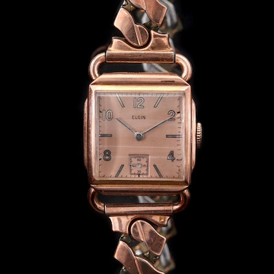 Vintage Elgin 10K Rose Gold Filled Stem Wind Wristwatch, 1942