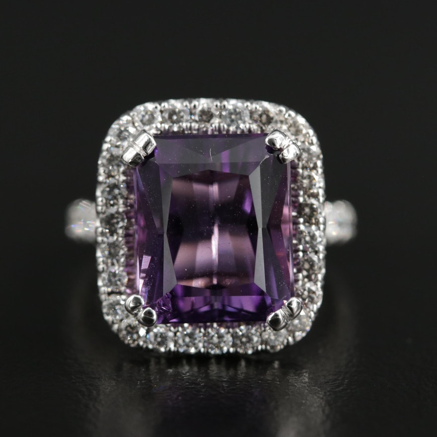14K White Gold Amethyst and 1.54 CTW Diamond Halo Ring