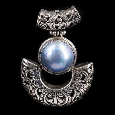 Sterling Silver Pearl Slide Pendant