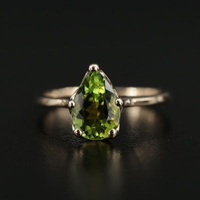 14K Yellow Gold Peridot Solitaire Ring