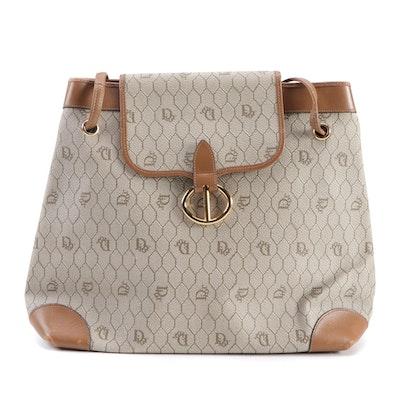 Dior Honeycomb Coated Canvas Shoulder Bag with Cognac Leather Trim