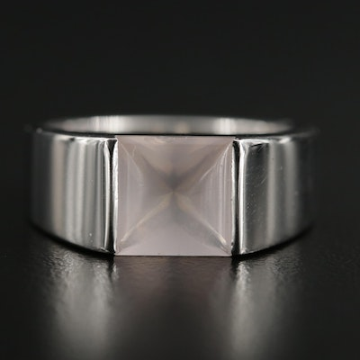 Cartier 18K White Gold Rose Quartz Tank Ring
